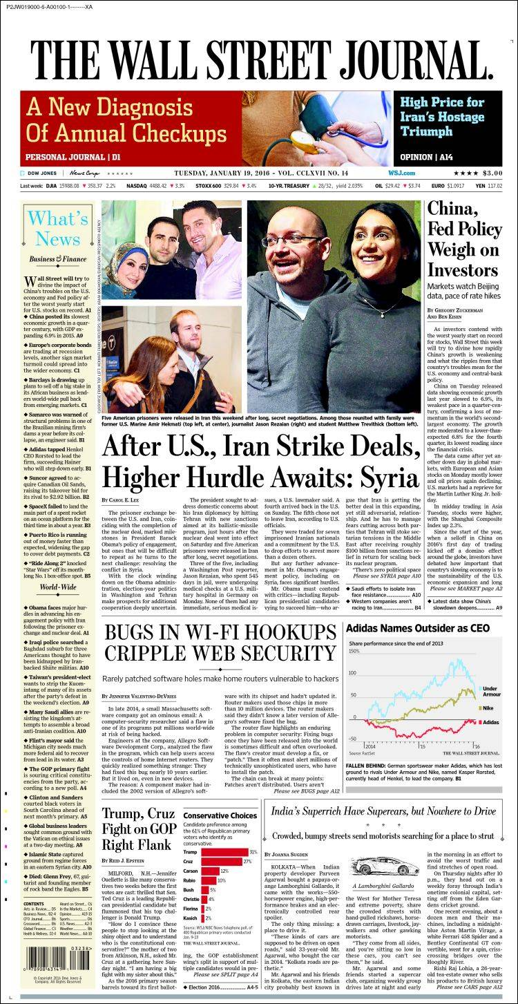 newspaper wall street journal  usa   newspapers in usa  tuesday u0026 39 s edition  january 19 of 2016