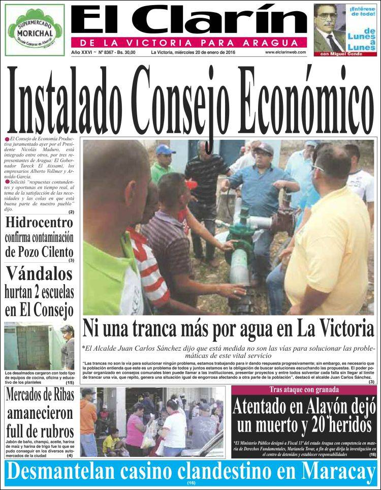 Portada de El Clarín de la Victoria para Aragua (Venezuela)