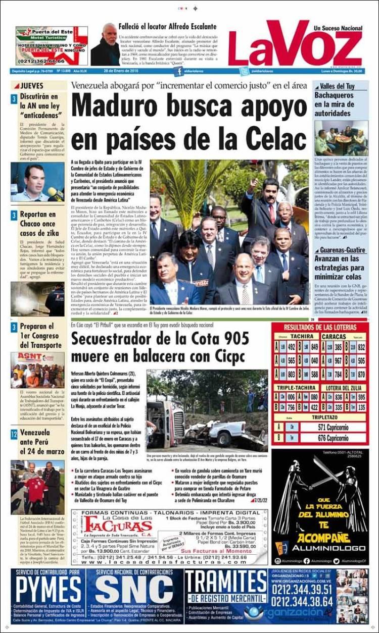 Newspaper Diario La Voz Venezuela Newspapers In Venezuela