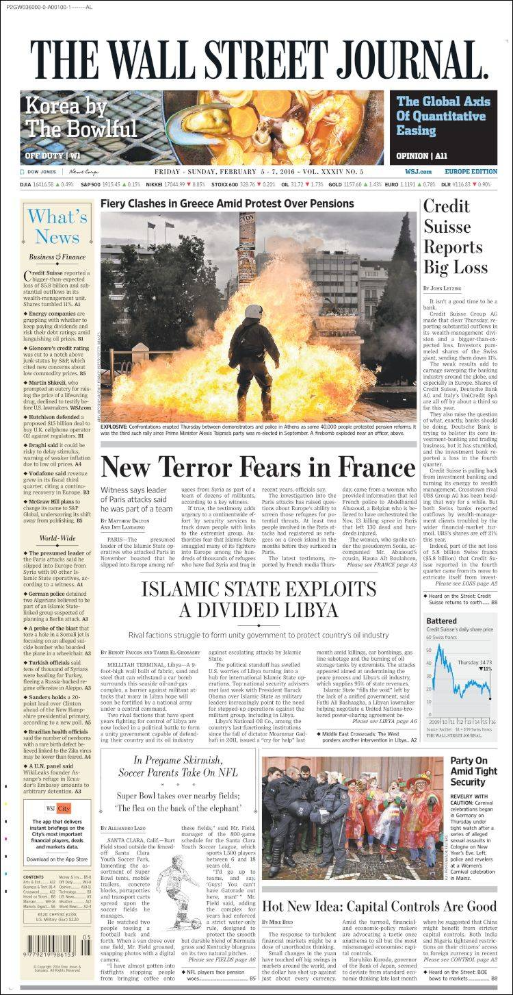 Portada de The Wall Street Journal - Europe (Europa)