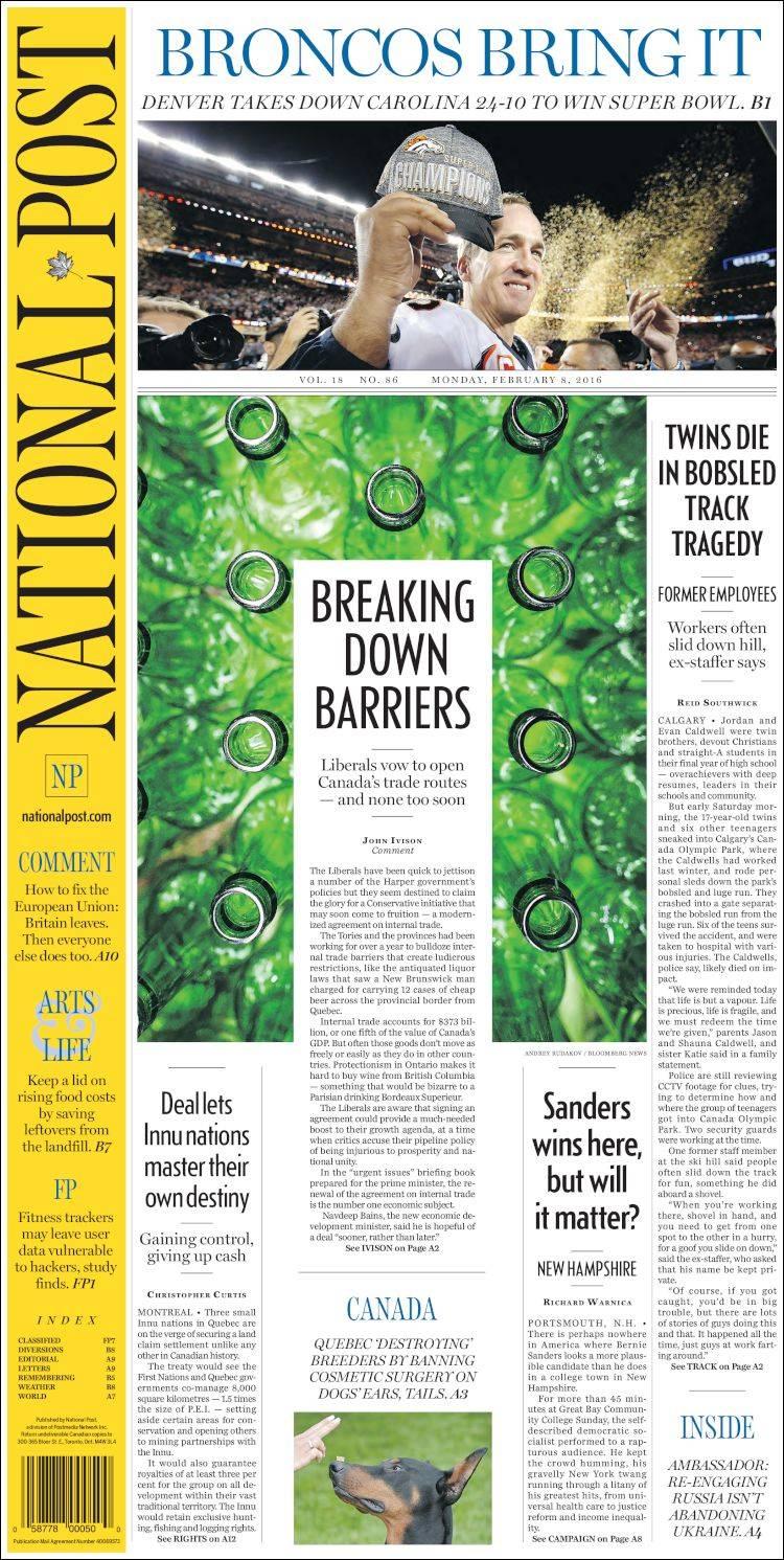 Portada de The National Post (Canadá)