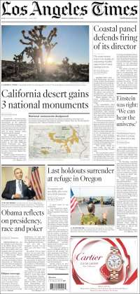 Portada de Los Angeles Times (USA)