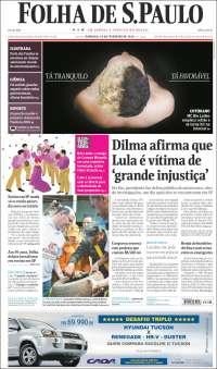 Portada de Folha de São Paulo (Brasil)