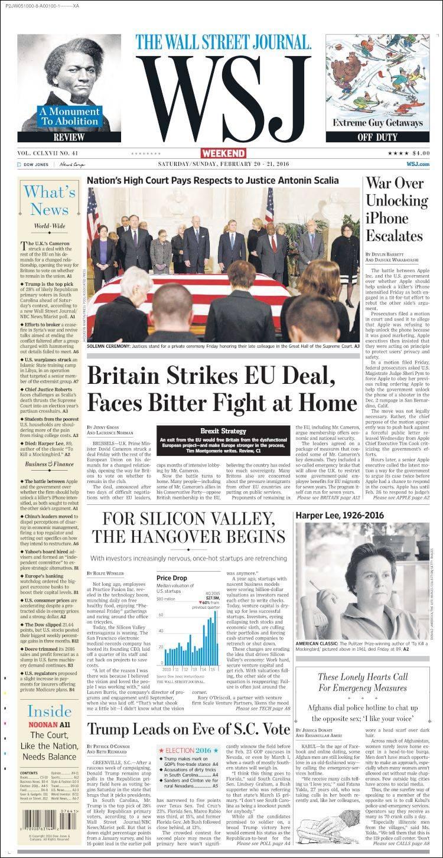 Portada De Wall Street Journal Usa