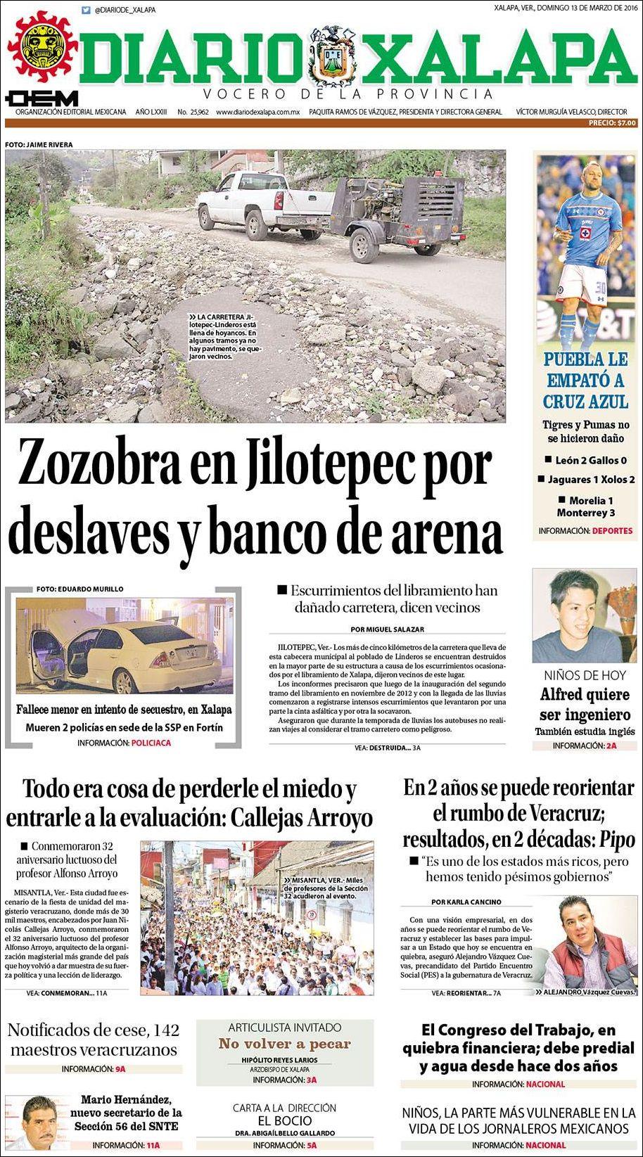 Portada Diario de Xalapa