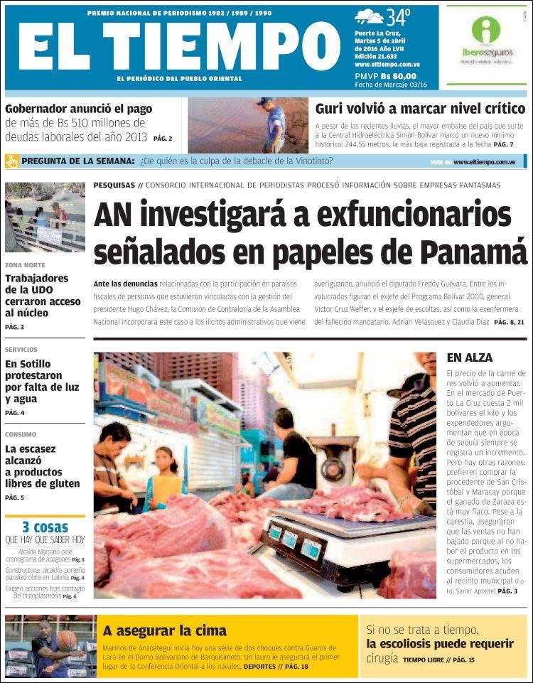 Portada de El Tiempo - El periódico del pueblo oriental (Venezuela)