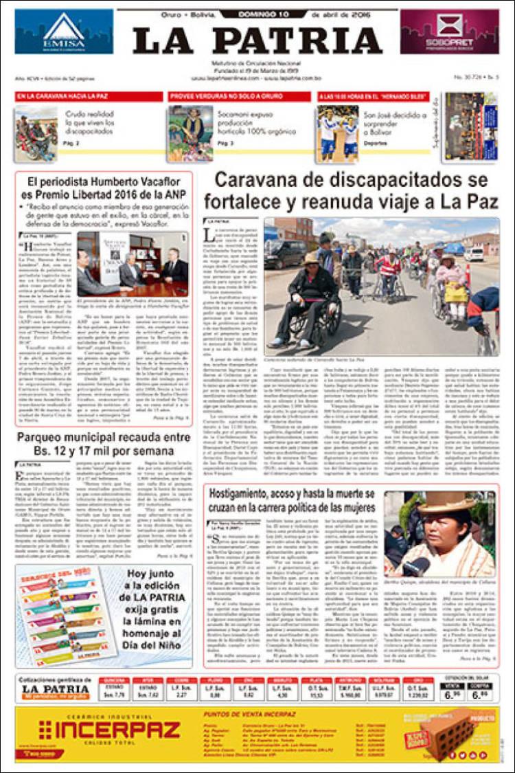 Periódico La Patria (Bolivia). Periódicos de Bolivia. Edición de ...