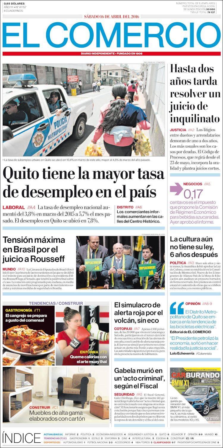 Newspaper El Comercio Ecuador Newspapers In Ecuador Saturday S  # Muebles Ecuador