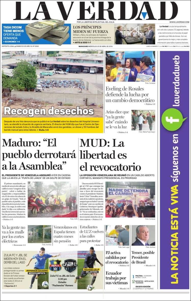 Portada de La Verdad de Zulia (Venezuela)