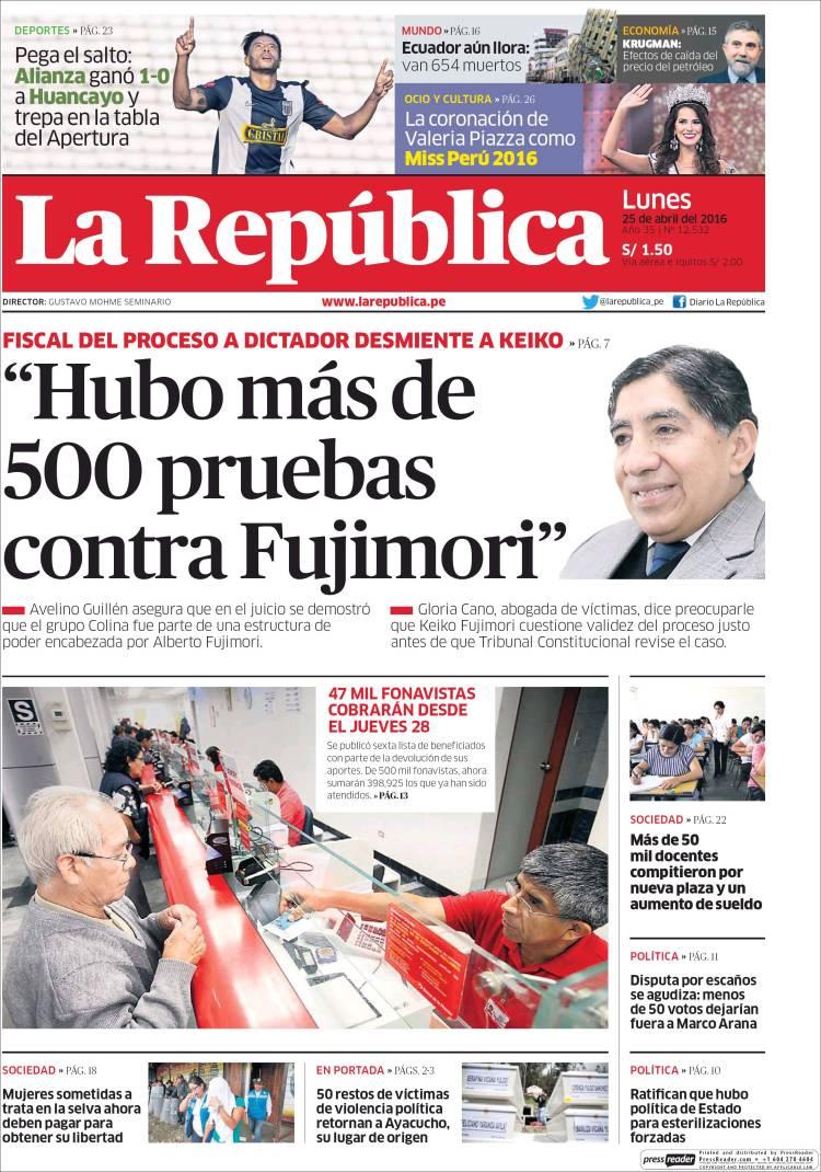 Newspaper La Republica (Peru). Newspapers in Peru. Monday\'s edition ...