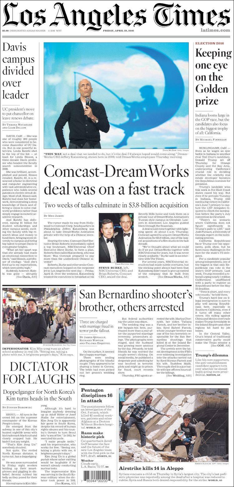 Portada de Los Angeles Times (USA)