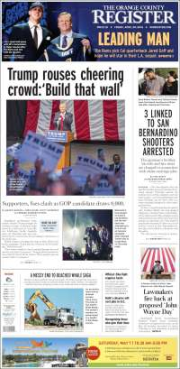 Portada de The Orange County Register (USA)