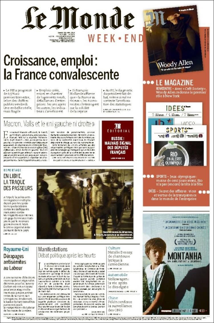 Portada de Le Monde (France)