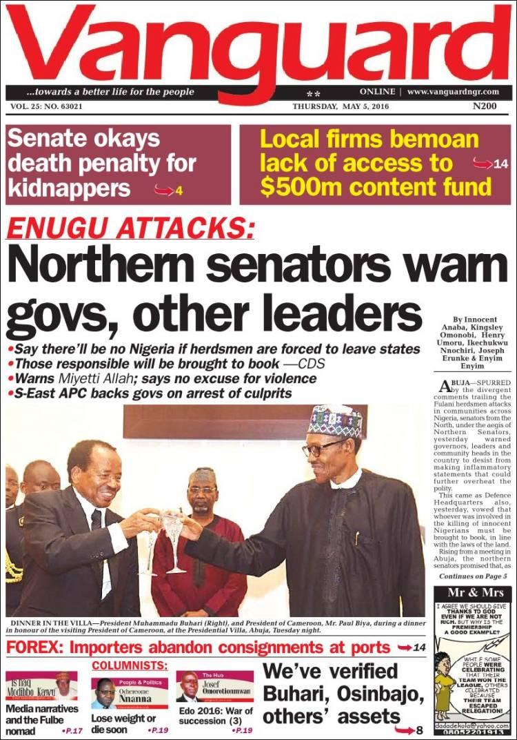 Portada de Vanguard  (Nigeria)