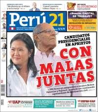Portada de Perú 21 (Perú)