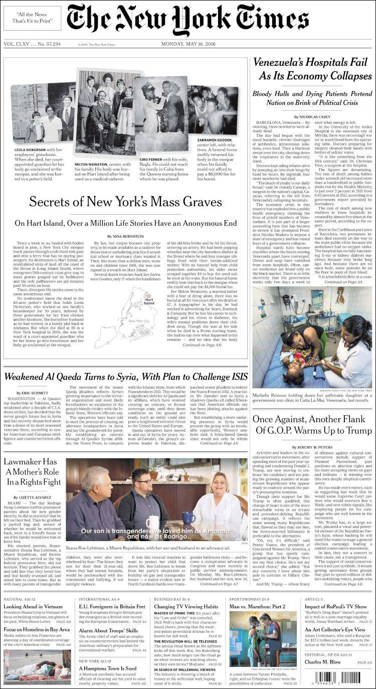 Newspaper New York Times (USA). Newspapers in USA. Monday ...