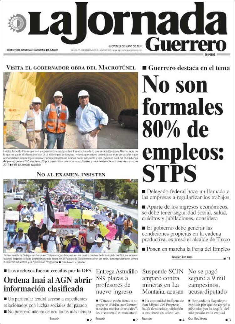 Portada de La Jornada de Guerrero (México)