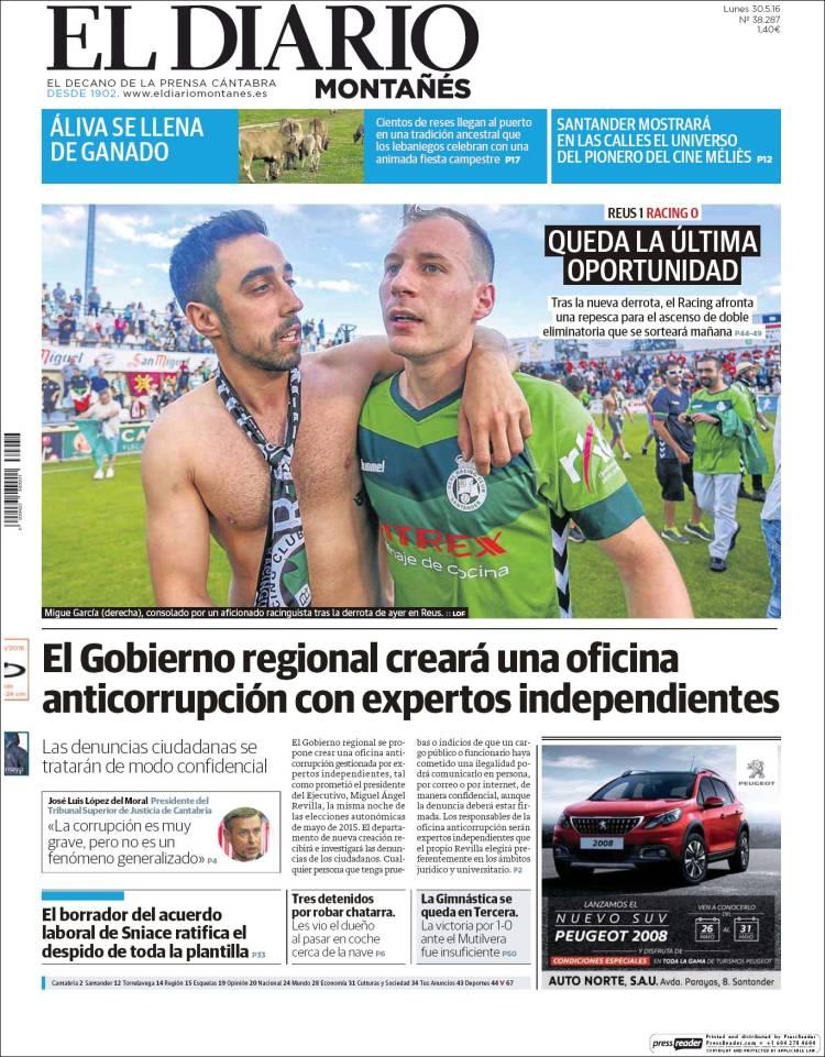 Portada de El Diario Montañés (España)