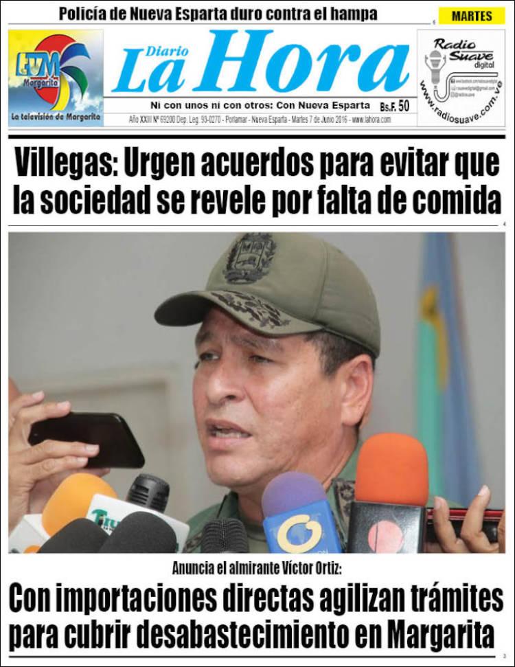 Portada de La Hora (Venezuela)