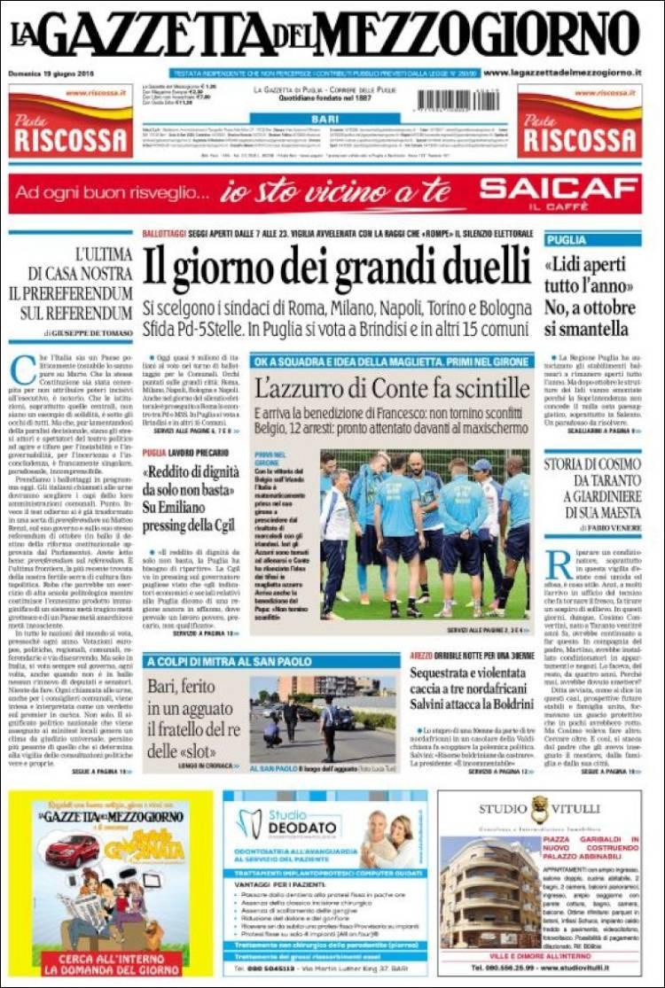 Portada de La Gazzetta del Mezzogiorno (Italia)