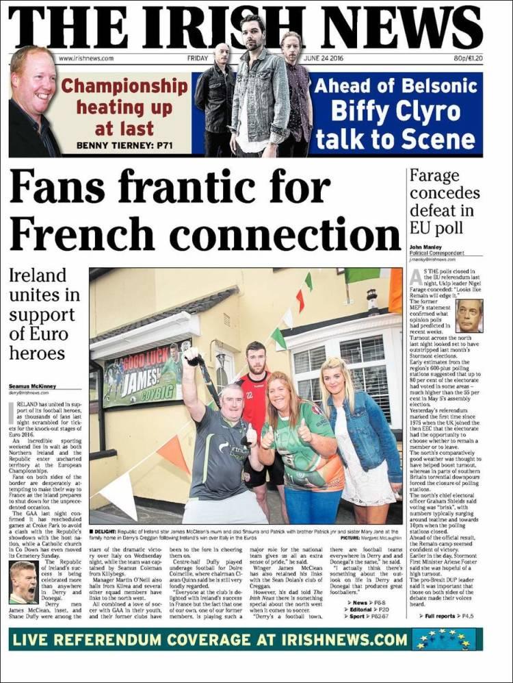 Portada de Irish News (Reino Unido)