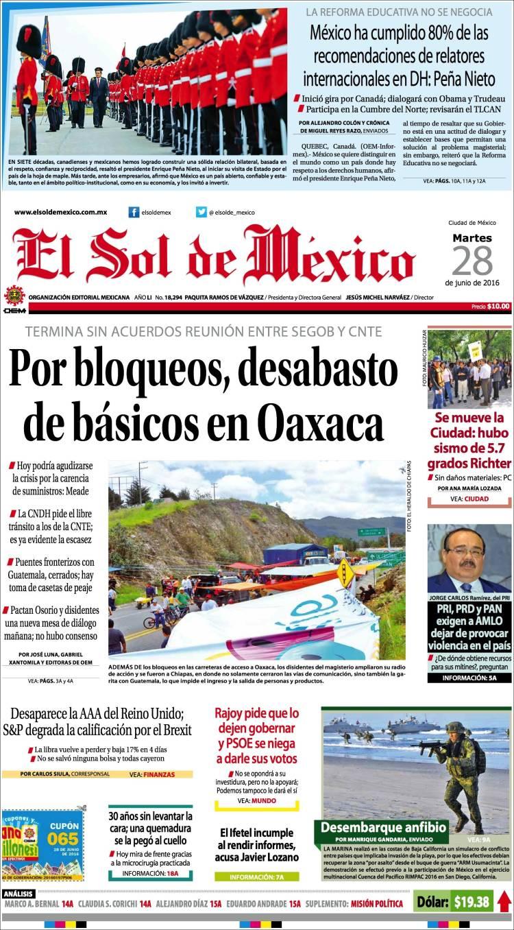 Portada El Sol de México