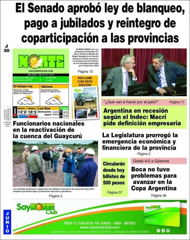 Portada de Diario Norte (Argentina)