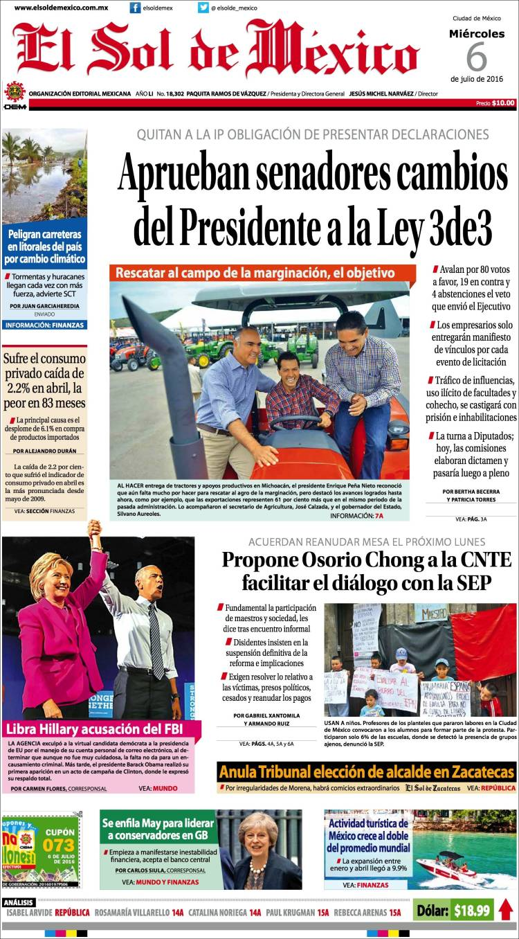 Periódico El Sol de México (México). Periódicos de México. Edición ...