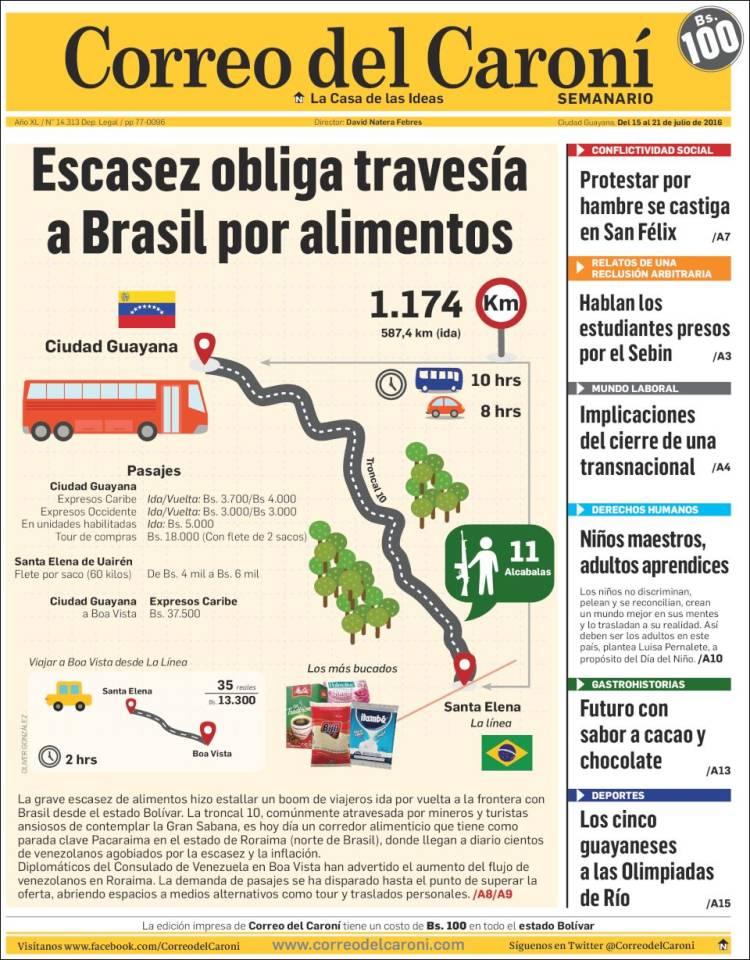 Portada de Correo del Caroní (Venezuela)