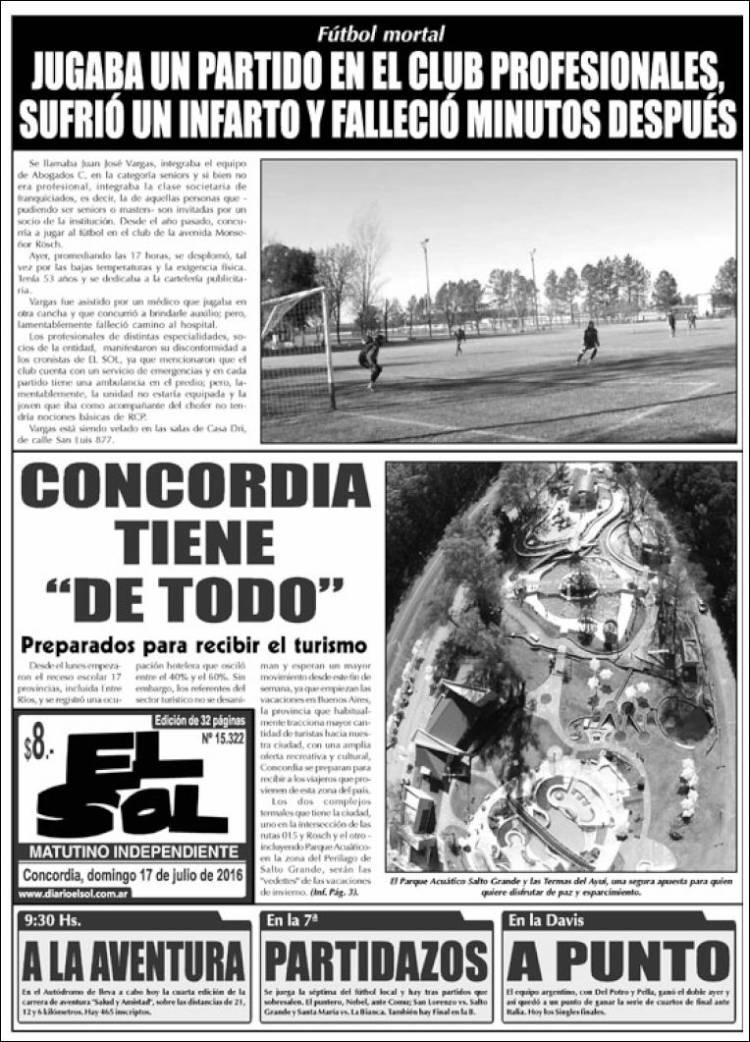 Portada de El Sol (Argentina)