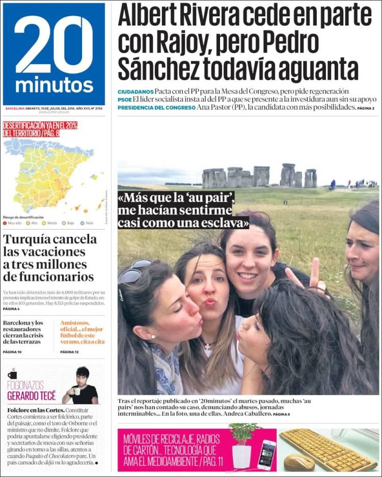 Periódico 20 Minutos Barcelona España Periódicos De