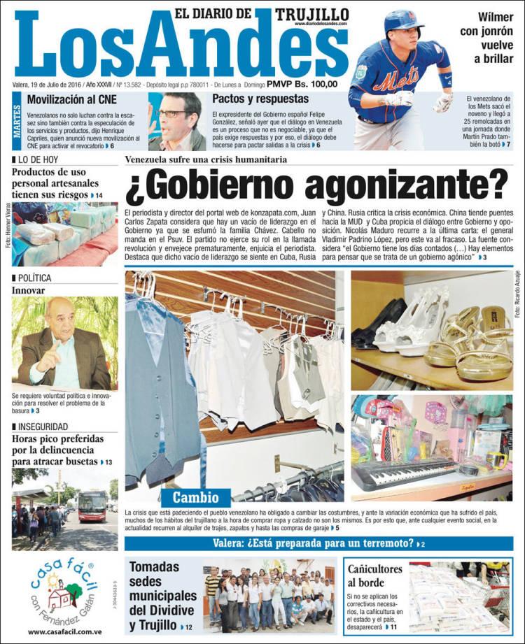 Portada de Diario de los Andes (Venezuela)