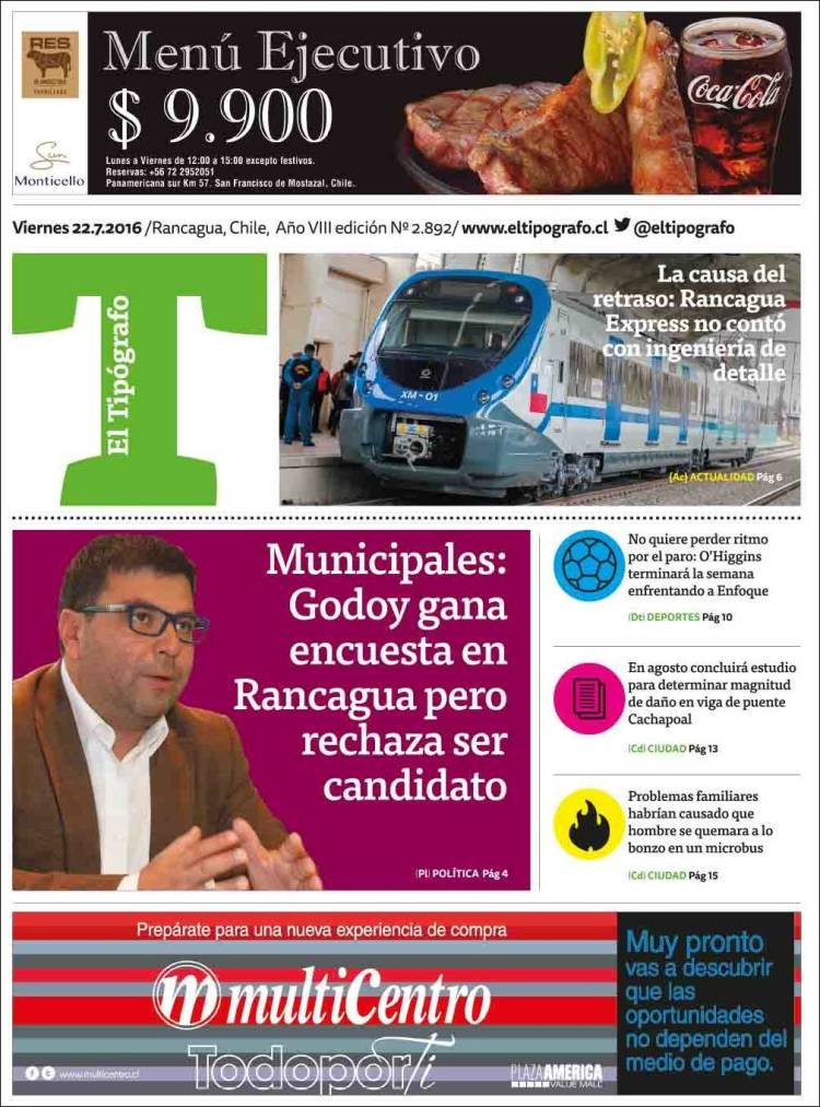 Portada de El Tipógrafo (Chile)