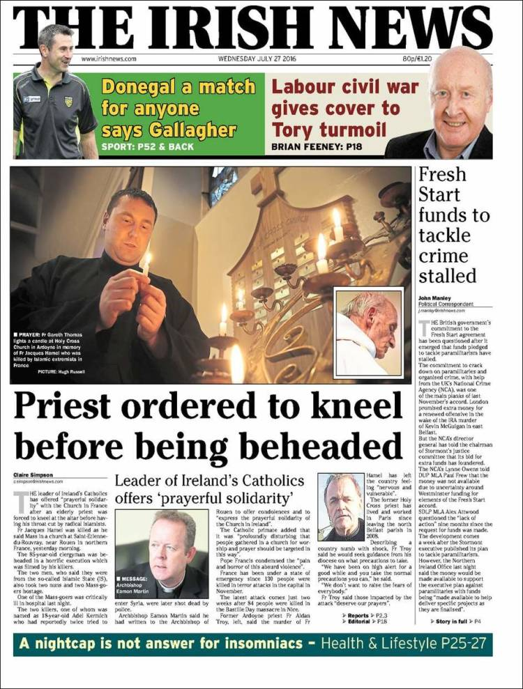 Portada de Irish News (Reino Unido)