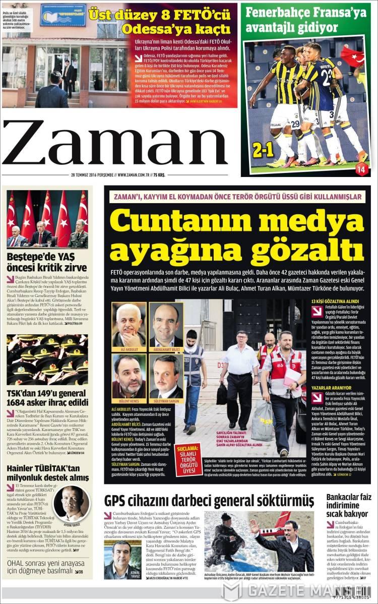Portada de Zaman (Turquía)
