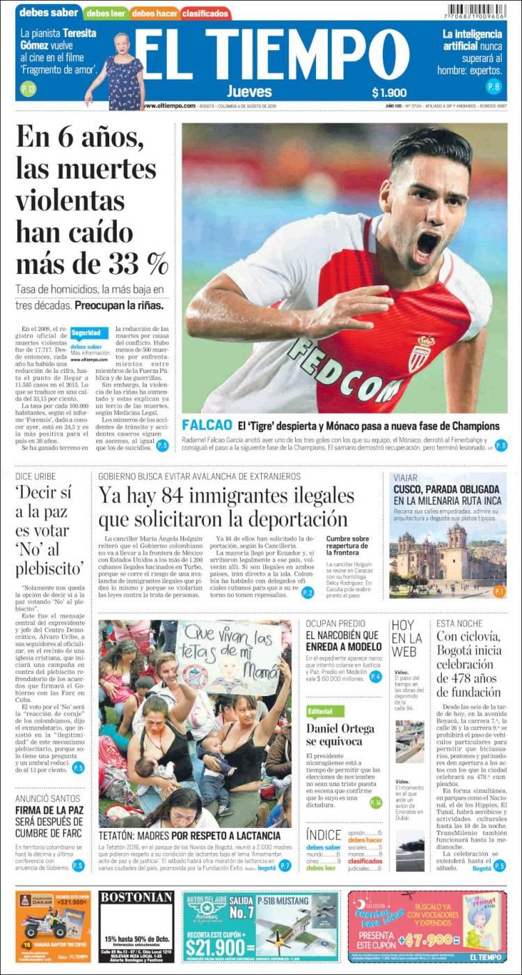 Periodico El Tiempo De Colombia Peri 243 Dico El Tiempo Colombia Peri 243 Dicos De Colombia