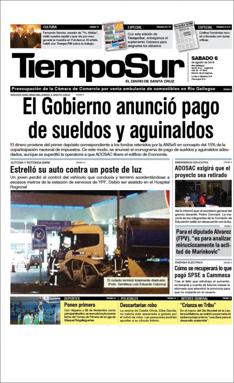Portada de Tiempo Sur (Argentina)