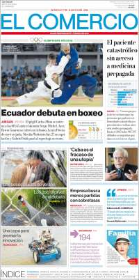 Portada de El Comercio (Ecuador)