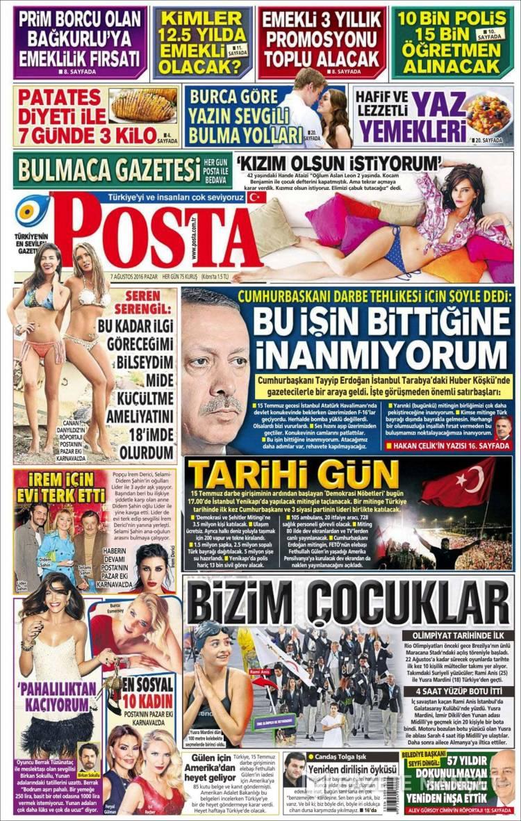 Portada de Posta Gazetesi (Turquía)