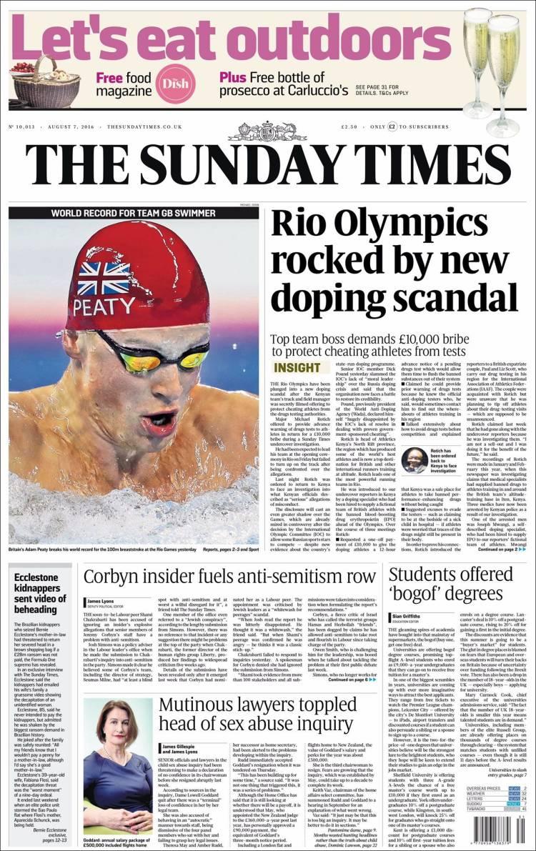 Portada de The Times (Reino Unido)