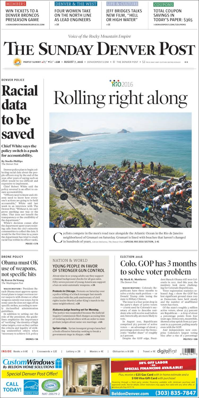 Portada de The Denver Post (USA)
