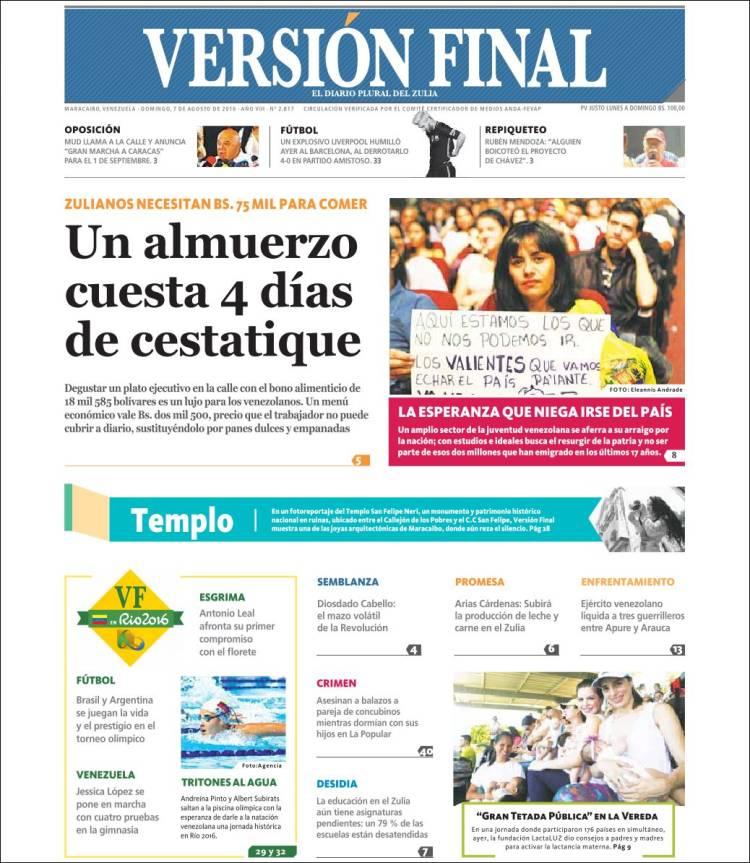 Portada de Versión Final (Venezuela)
