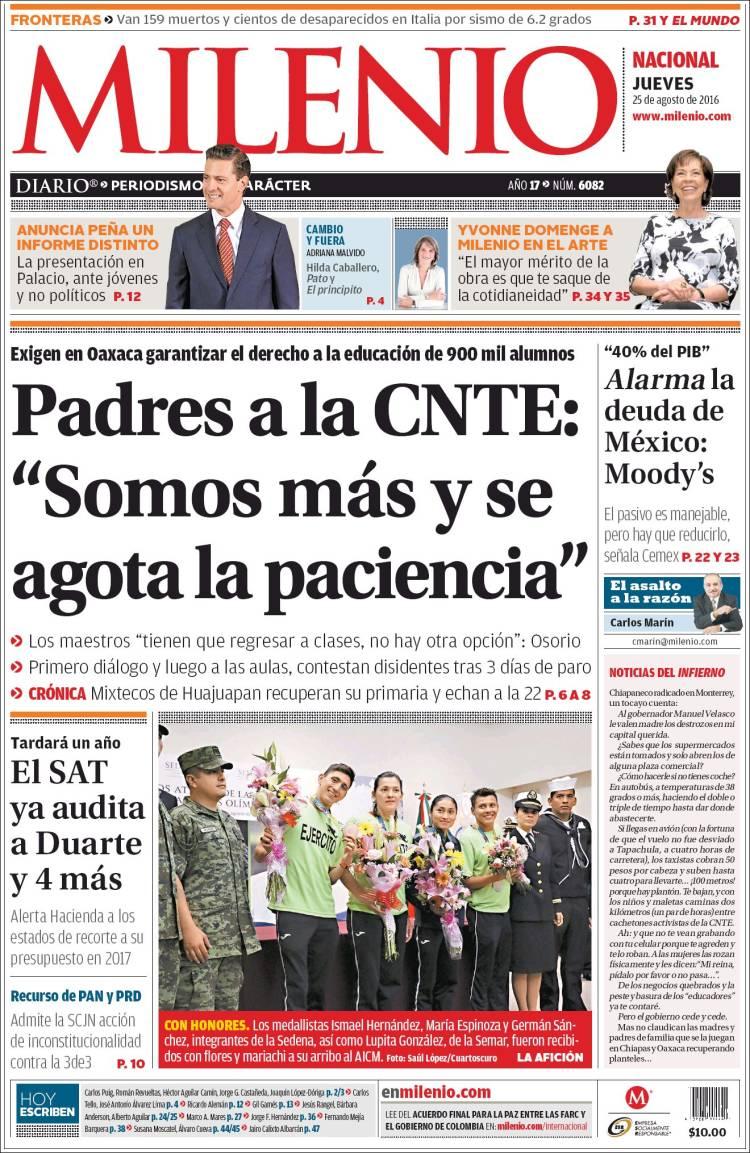 Portada de Milenio (Mexico)