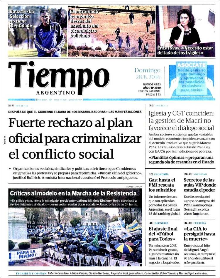 Portada de Tiempo Argentino (Argentina)
