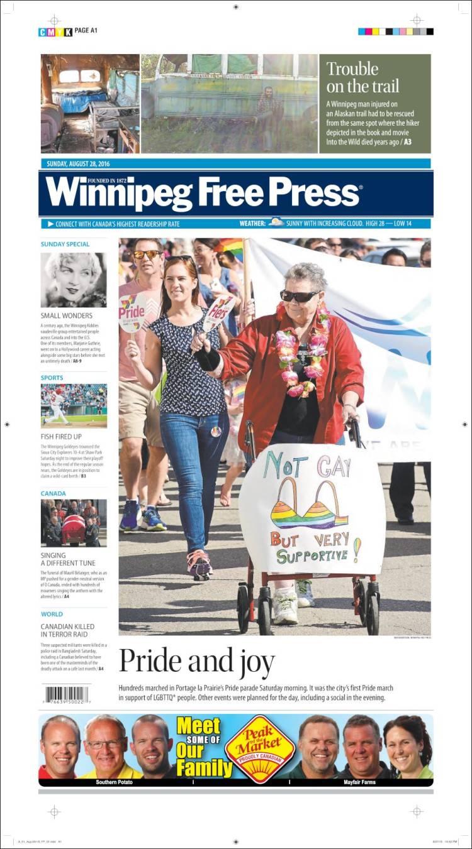 Portada de Winnipeg Free Press (Canadá)