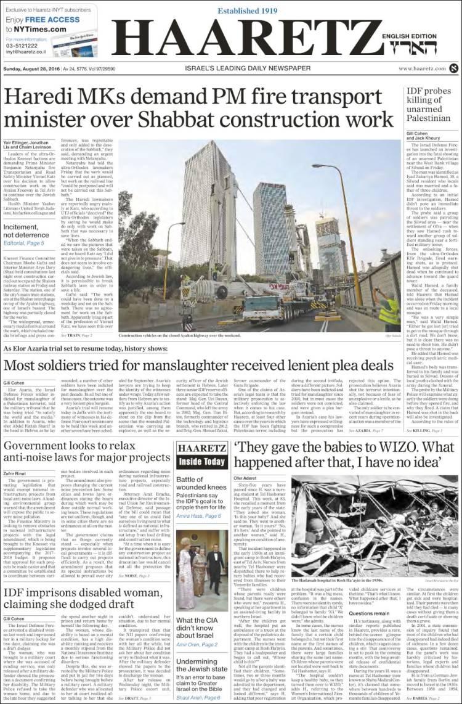 Portada de Haaretz (Israel)