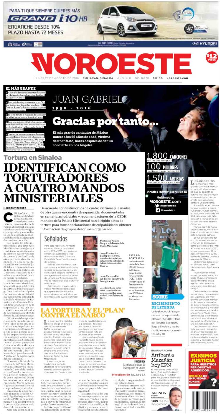 Portada de Periódico Noroeste (México)