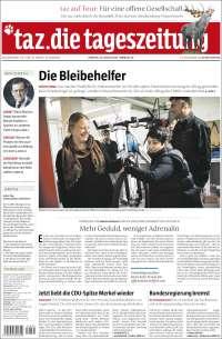 Portada de Die Tageszeitung (Alemania)