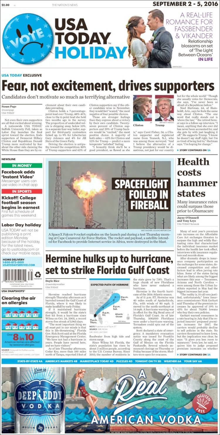 Periódico USA Today (USA)  Periódicos de USA  Edición de