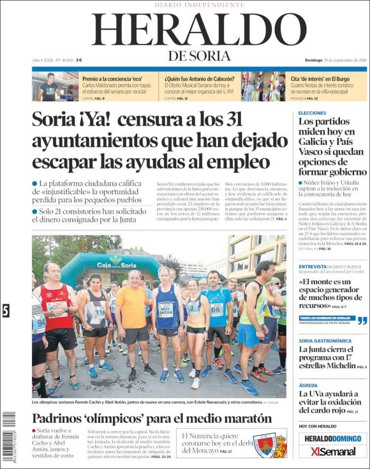 Portada de Heraldo de Soria (España)